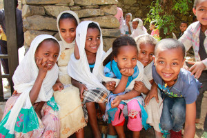 """Children attend """"Sunday School"""" at the old Christian Orthodox church in Gondar."""