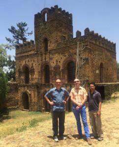 David, Stan & Adil at the Royal Palaces in Gondar.