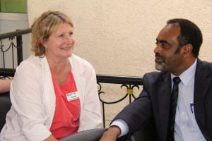 Surgical Care Coordinator Kim East with Gamby Hospital CEO Dr. Gebewa.
